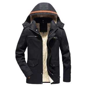 Large Size Men s Winter Warm Jacket Coat Casual Thicken Hooded Outwear Top Blouse Outdoor Fishing Slim Fit Solid Overcoat002