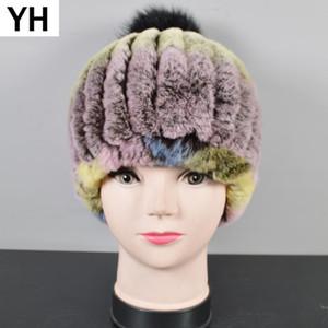 New Children Knitted Fur Pompom Hats Child Unisex Beanies Elastic Rex Fur Caps Genuine Rex Hat Skullies