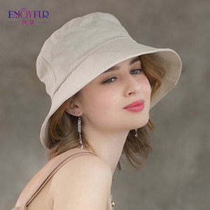 ENJOYFUR Summer Cotton Bucket Hat For Women Hip Hop Outdoor Caps Fishermen Sun hats 201009