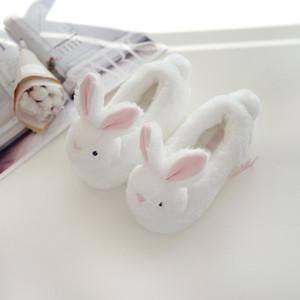 Suihyung Çocuk Kabarık Terlik Peluş Tavşan Pamuk Ayakkabı Çocuk Beyaz Tavşan Ev Terlik Erkekler Kızlar Yumuşak Alt Kapalı Ayakkabı C1002