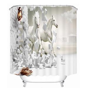 Rideaux de douche 3D Europe Cheval Modèle de voiture imperméable Tissus lavables Rideaux de salle de bain Accueil Salle de bain Produits avec crochets