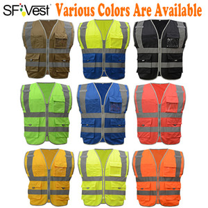 High Visibility Waistcoat Reflective Safety Vest Mens Construction Worker Night Runner Cyclist 9 Colors Company Print 201009