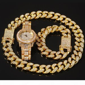 3pcs set Men Hip hop iced out bling Chain Necklace Bracelets watch 20mm width cuban Chains Necklaces Hiphop charm jewelry gifts