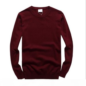 2019 New PL1208 Autumn Simple Smart Casual Pullover High Quality Pure Cotton Long Sleeve Silm Fit Mens Sweater Fashion Men Cotton Sweaters