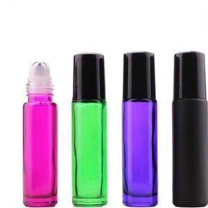300pcs / серия 10мл черный / зеленый / фиолетовый / Rose Red Glass Ролл на бутылки Малый Эфирное масло Roller Пример бутылки для продажи