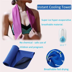 10 Colors Ice Cold Towel 30*80cm Double layers Quick Dry Soft Breathable Cooling Towel Summer Anti Sunstroke Sports Towels
