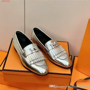 Autumn and winter new color matching casual shoes, womens leather tassel flat loafer shoes, lazy driving shoes With box