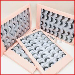 16 pares multipack Faux 3D Mink Eyelashes Cílios Falsos Handmade Wispy Flufe Long Falso Mink Lashes Natural Maquiagem Ferramentas Eye Cílios