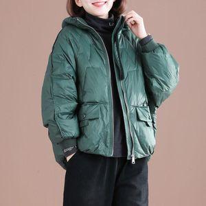 2021 New Autumn Winter Women Lightweight White Duck Down Jackets Female Chic Thick Warm Long Sleeve Pocket Duck Down Coats Z281