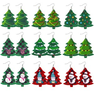 2020 New Christmas ornaments Festive Party Favor Christmas Earrings Christmas Tree Snowman deer Print Leather Earrings Holiday Gift Jewelry