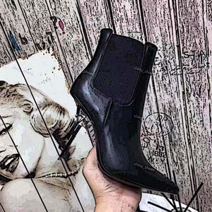 High Quality Genuine Leather inluxe Pointed Toe Womens Ankle Boots Black Thrill Letter Heels Pumps Woman High-heeled Dress Bridal Shoes