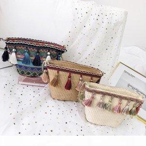 Nice2019 плетеная Солома Статья Sandy Beach Одно плечо сумка Женщина Packet Плетение кисточки Bucket пакет на отпуск Свободное время