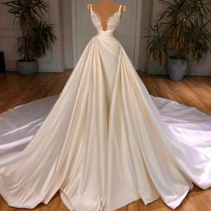 Luxury Princess Arabic Wedding Dresses with Detachable Train Satin Bead Castle Bridal Gowns Ruffle Plus Size Robe De Mariage