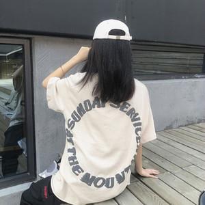 Tide бренда свободный стиль Kanye хип-хоп граффити половина короткий рукав круглый шею футболку мужчин и женщин дна рубашки