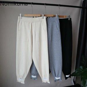 Nomikuma hecha punto Harem 2020 Otoño Invierno causales pantalones largos coreanos Letters Apliques pantalón Feminimos 6C612