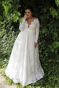 Garden A-line Empire Waist Lace Plus Size Wedding Dress With Long Sleeves Sexy Long Wedding Dress For Plus Size Wedding NADPW006