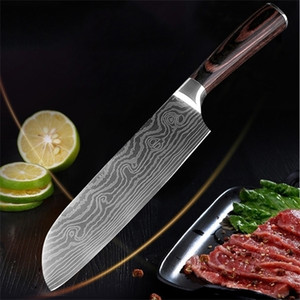 7 Inch Chef Knife Imitation Damascus Steel Cleaver Sushi Wood Handle Flowing Sand Wave Pattern Kitchen Meat Knives DH1472 T03