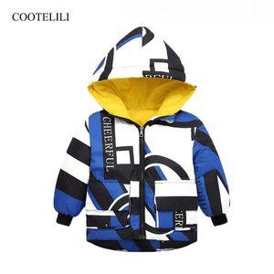 COOTELILI Warm Letter Kids Jacket For Boys Girls Clothing Velvet Winter Outerwear & Coats Snowsuit Baby Boys Parkas Clothes