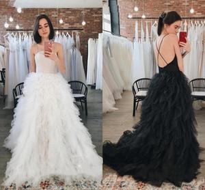 Ruffles Tulle Long Wedding Dresses Gothic White Black 2021 Spaghetti Straps Boho Garden Bridal Gown Backless A Line robes de mariee