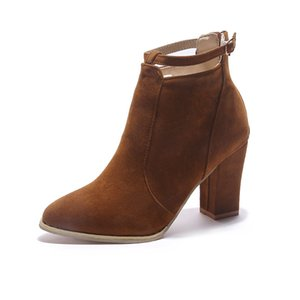 New British style thick heel high heel boots back zipper foreign trade large women's short tube Martin boots