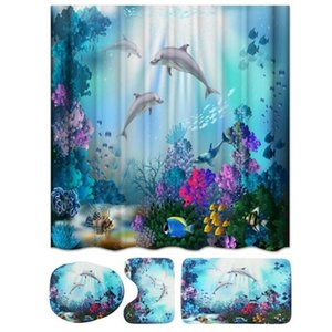 Shower Curtain Set Bathroom Mat Waterproof Non-Slip Polyester Seasight Comfortable Soft Printing Toilet Cover