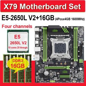 징샤 X79 칩셋 마더 콤보 E5 2650L V2 쉐이드 X = 4기가바이트 16기가바이트 인 1600MHz DDR3 ECC REG memoria ATX USB3.0 SATA3의 NVMe M.2