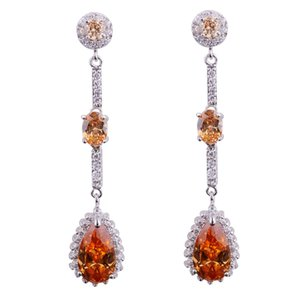 1pair 6colors for choose 2014 fashion jewelry for women Cubic Zircon Dange Earrings 24K White gold filled Earrings