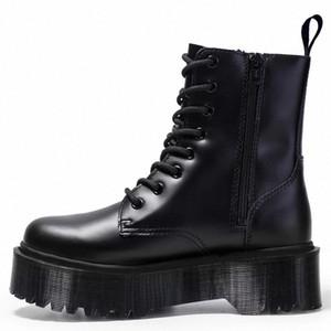 Nausk Doc Boots Женская Высокая Платформа Лодыжка Обувь Коренастая Женщина Кожаные Мотоциклеты Дамы Мода Женщины Ботинки # IL2F