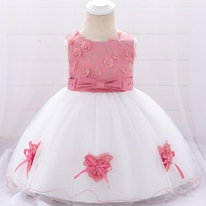 Baby Dresses Summer 2019 New Butterfly Knot Applique dress sleeveless Floral beaded baby girl Birthday party dress
