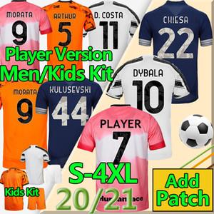 4xl Juve de Ligt Futebol Jerseys Futbol 20 21 The BianConeri Human Race Jogador Versão Morata Dybala Homens Kits Kits Futebol Camisa Uniformes