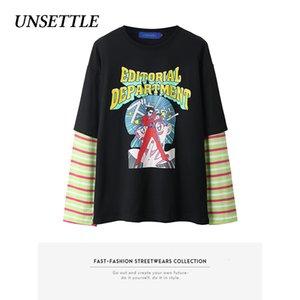 Perturbar el otoño de Harajuku gráfico de camisetas falso dos piezas de dibujos animados Imprimir Hip Hop de los hombres de manga larga con capucha de gran tamaño de Calle 1021