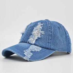 2020 Новый Твердая Hole Cowboy Бейсболка Snapback Hat Мужчины Женщины Омывается Cowboy Hat Кости SunHip хоп джинсы Hat Casquette Gorras