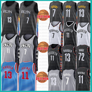 7 Kyrie 11 Kevin 72 Irving Biggie Durant 13 Harden Baskethabll Jersey Hommes 2021 NCAA Jerseys Noir Gris Bleu Blanc Brooklyn