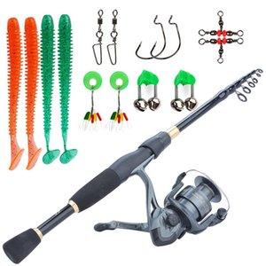 SOUGAYILANG 1.8-2.4M Conjunto de cañas de pescar Conjunto de rodamiento de vidrio ultraligero con accesorios de gancho de señuelo Kits completos