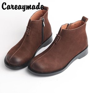Careaymade-New Retro Genuine Leather literature and art round toe flat bottomed short boots for women pure handmade boots