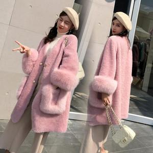 Solid color Women Fur Coat Fur & Faux Winter Warm Medium length Women Coat New Imitation wool JK2021