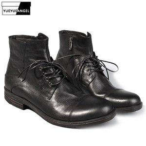 100% Real Leather Vintage Ankle Shoes Men Casual Lace Up Zipper Work Safety Boots Men Designer Black Motorcycle Cowboy Boots