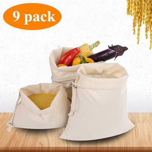 Reusable Produce Bag Women Soft Cotton Shopping for Vegetable Fruit Rice Bread Pre-Washed Tote Storage Bags Q1104