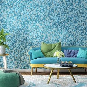 Behang Salon Yatak odası Duvarlar Akdeniz Wallpaper Katı Renk Mavi DiatomNordic Ins Dokuma Duvar Kağıtları Ev Dekorasyonu