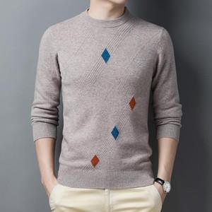Homens 100% Wool Sweater 2020 Outono Inverno nova malha da manta de lã pura Camisolas Camisolas