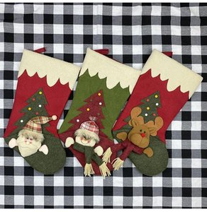 Christmas Gift Stockings Hanging Drop Ornaments Creative Santa Snowman Elk Doll Plush Gifts Bag Candy Bag Decoration Pendants