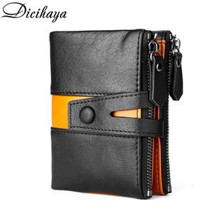 Dicihaya Neue Spleiß 100% Echtes Leder Männer Brieftasche Münze Geldbörse Kleine Mini Kartenhalter Doppel Reißverschluss Portomonee Männliche Walet-Tasche Q1110