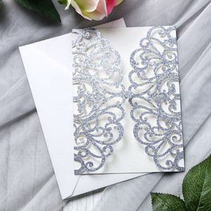 New Arrival Silver Glitter Laser Cut Invitation Cards For Wedding Bridal Shower Birthday Engagement Graduation Party Invites