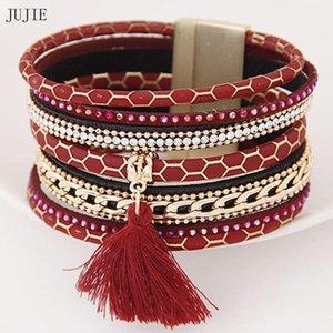 Jujie Tassl Leather Bracelets 2021 매력 자석 버클 수투 금속 커프스 팔찌 여성 Boho Multilayer Bracelets Bangles