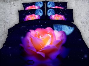 JF-267 Moon stars and pink rose print bedding sets king size 4pcs quilt cover set