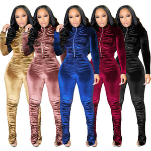 Pleated 2PCS Stacked Pants Womens Tracksuits Spring Autumn Solid Color Slim Two Pieces Sets for Women Casual Sports Suits