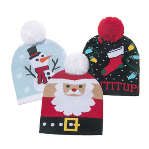 New Winter Cute Red Snowman Snowflake Christmas Deer Pompom Knitted Beanie Hats Caps For Kids Children Boy Girls