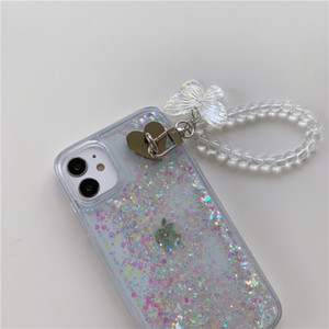 2020 new anti-fall mobile phone case for iphone 12 Pro max mini, Sparkly quicksand butterfly bracelet clear case cover