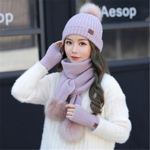 Bare Fingers Warm Gloves Ladies Winter Solid-Color Hat Warm With A Velvet Knit Scarf Outdoor Exercise Set