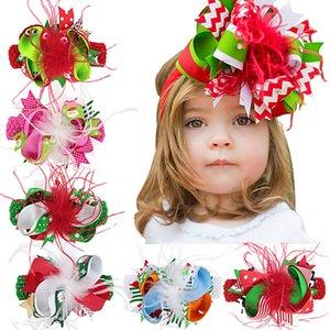 Pluma horquilla arco Las vendas Barrettes cintas avestruz Pelos Arcos Dots rayadas del copo de las pinzas de pelo de Navidad para niños